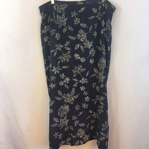 Rena Rowan Silk Skirt Plus Size 22W Long Floral